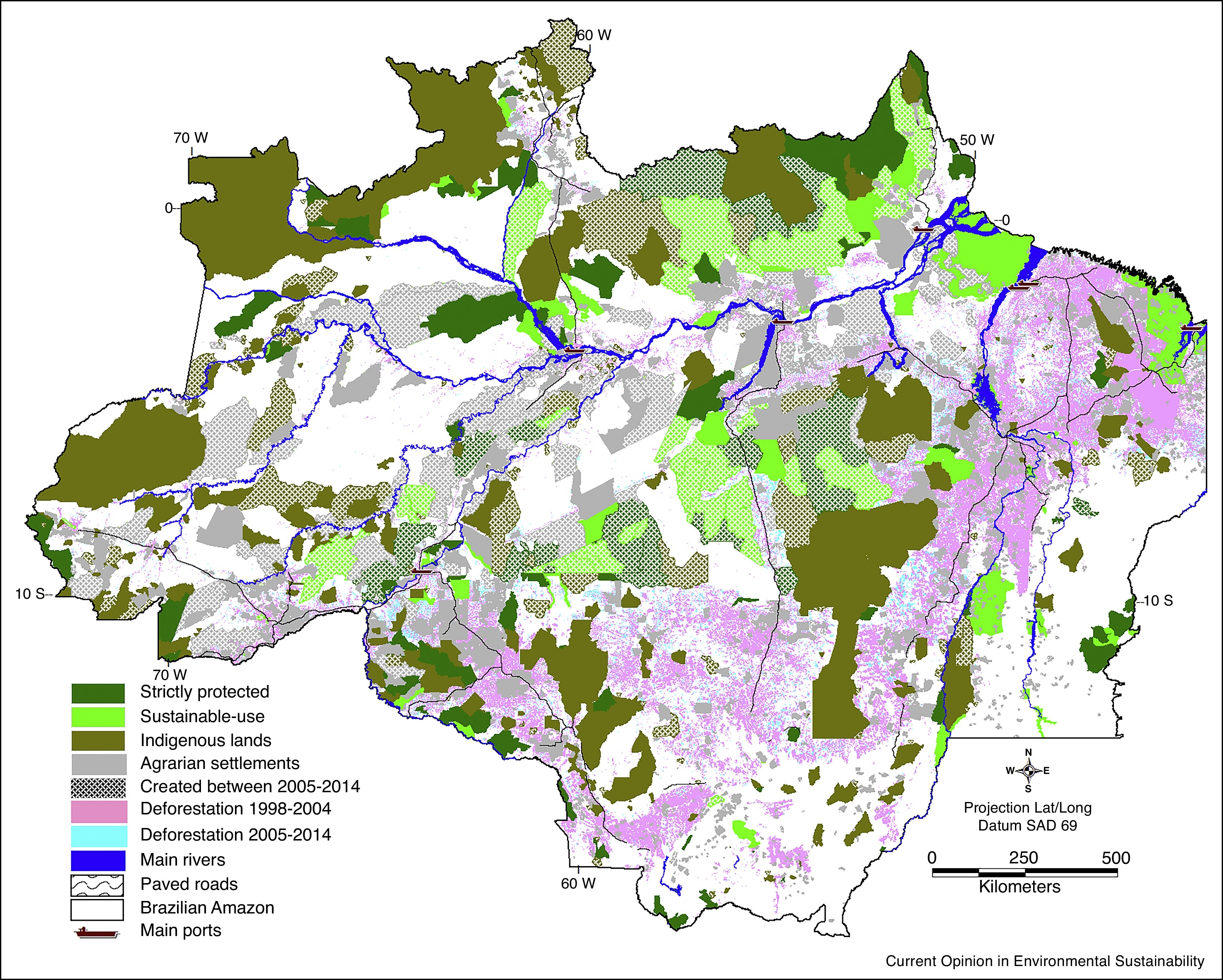 Spatial distribution of deforestation observed in 1988–2004 and 2005–2014, including the main territorial units (agrarian settlements) created prior to 2004 and subsequently, along with key transportation infrastructure (paved roads and ports).