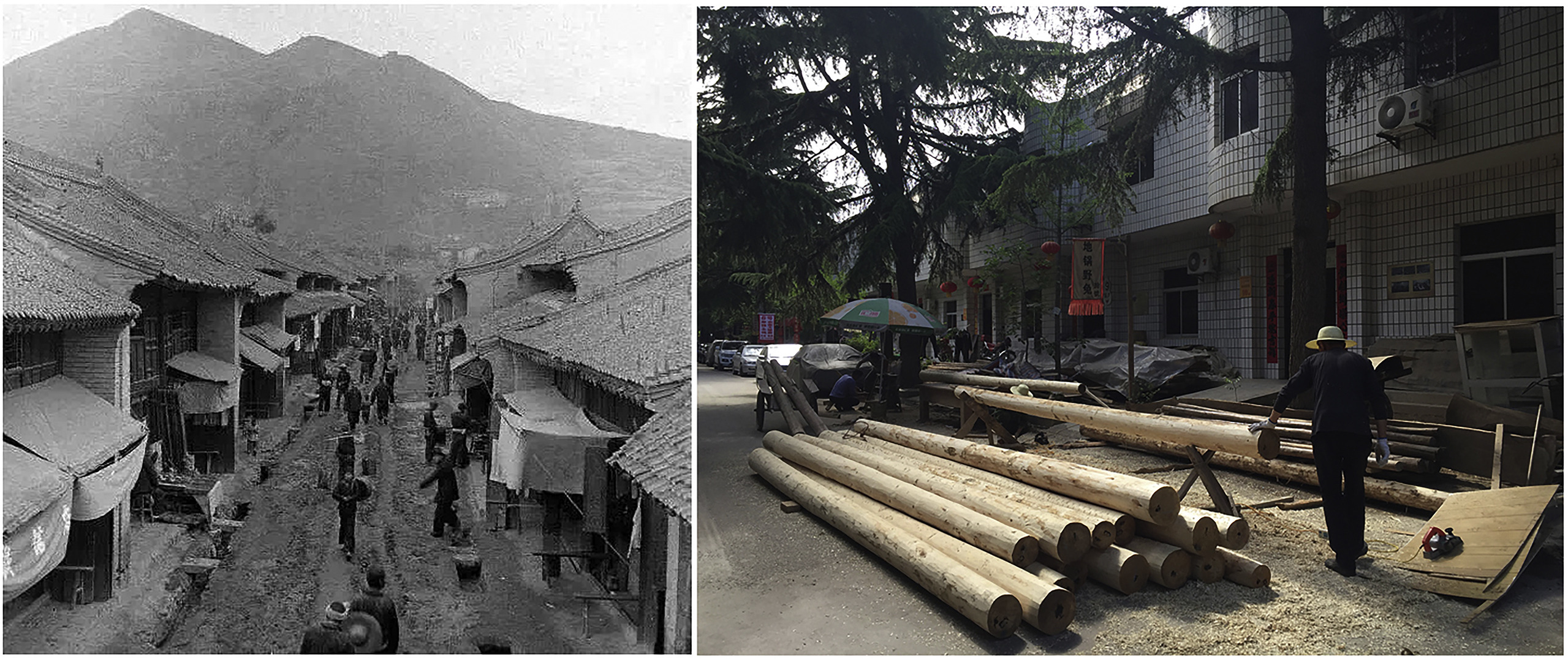 The main street in 1950s (left) and now (right).