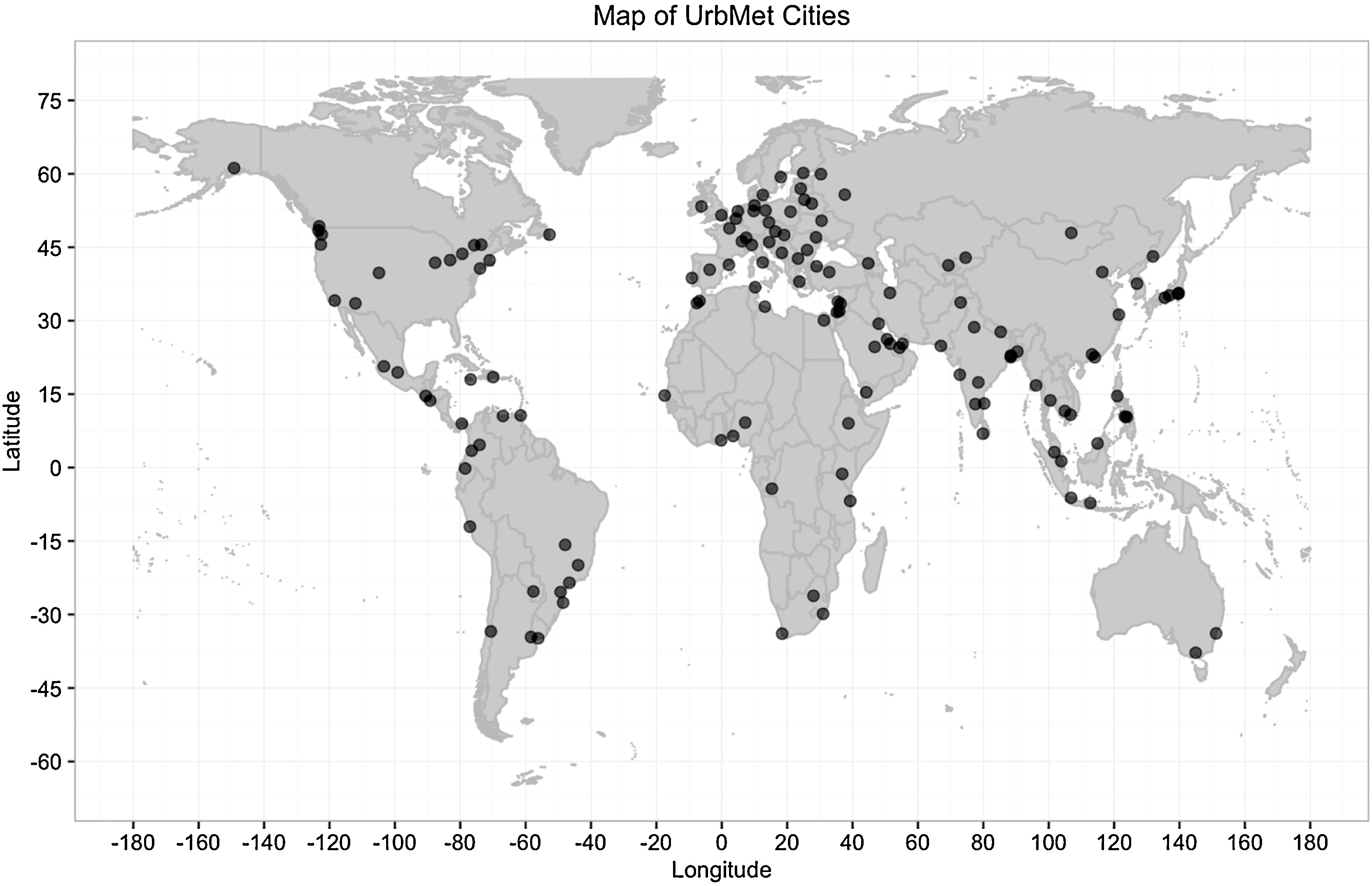 World map of the 142 cities in the UrbMet database.