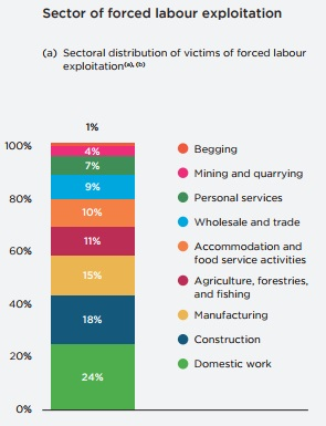Sector of forced labor exploitation graph