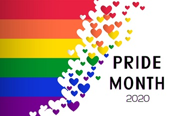 Pride Month 2020 rainbow flag and hearts