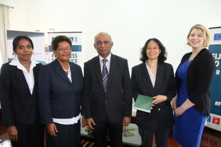 Justice Chandra (centre), Ana Cobona, Amelia Tukuwasa, Marie Chan, Myfanwy Wallwork