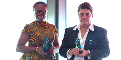 The winners of the 2017 Elsevier Foundation Green and Sustainable Chemistry Challenge are first-prize winner (at right) Dênis Pires de Lima, PhD, a professor at Federal University of Mato Grosso do Sul, Brazil, and runner-up Chioma Blaise Chikere, PhD, a