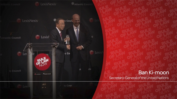 UN Secretary-General Ban Ki Moon and Mike Walsh, CEO of LexisNexis Legal & Professional