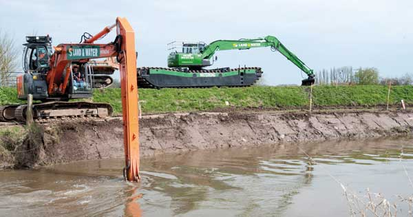 River dredging in progress