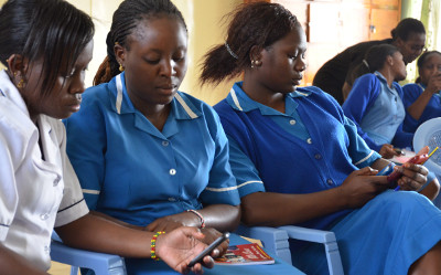 Nurses receive instruction in mobile nursing education in Kenya through Amref's Jibu pilot. (Credit: Amref)